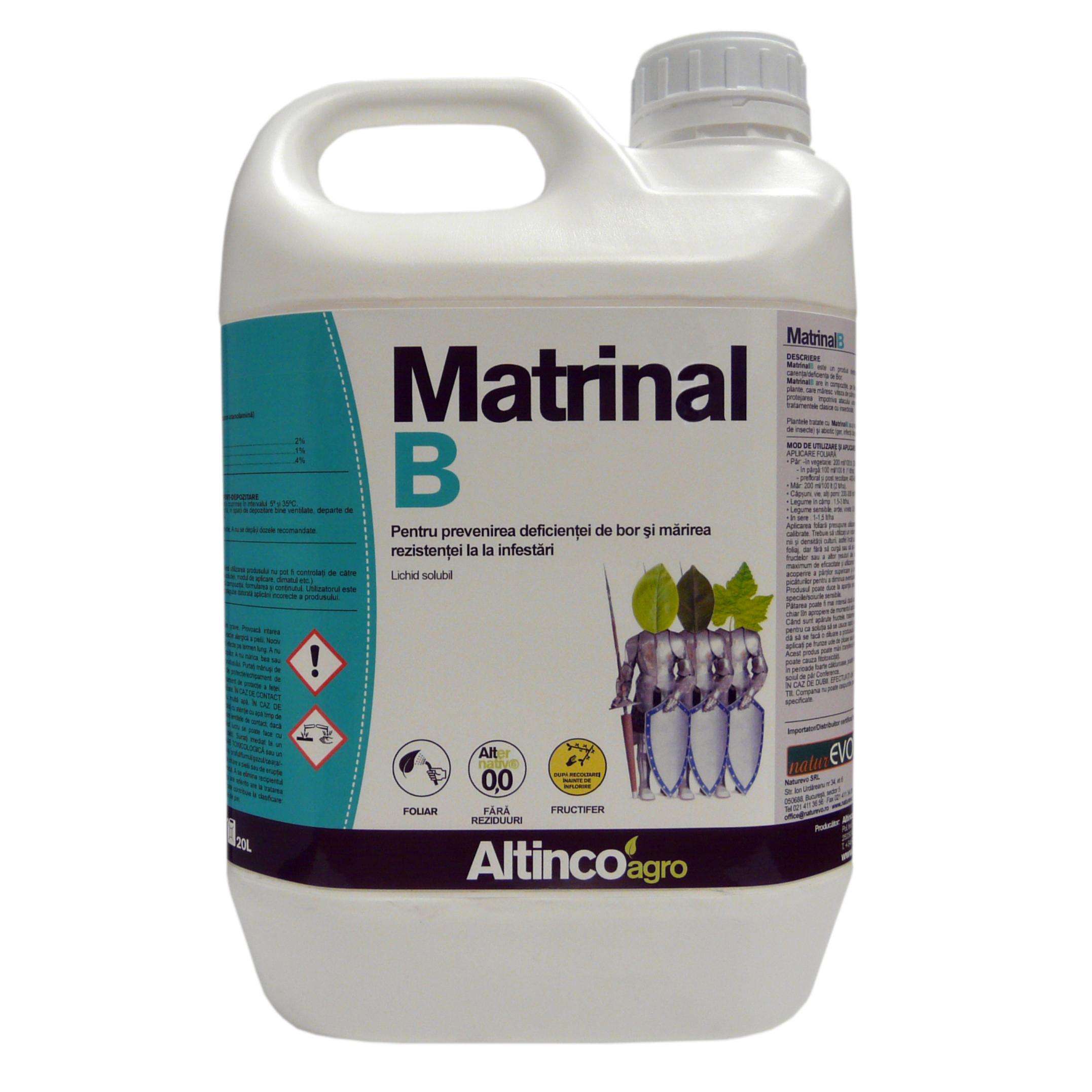 MATRINAL B este un inductor de autoapărare a culturilor. Produs biodegradabil. Rezolvă problemele cauzate de atacul dăunătorilor